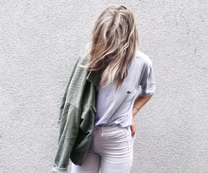 blonde, lacoste, and white jeans image