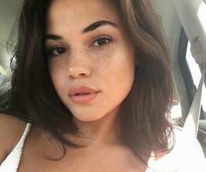 brown eyes, freckles, and lips image