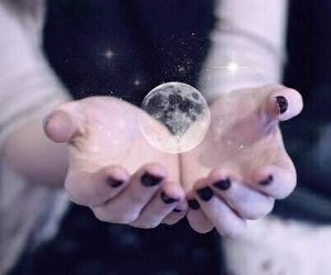 moon, hands, and stars image