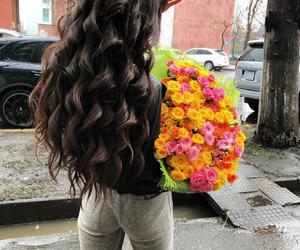 flowers, girl, and brunette image