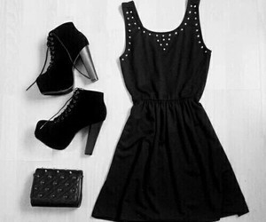 black, boots, and dress image