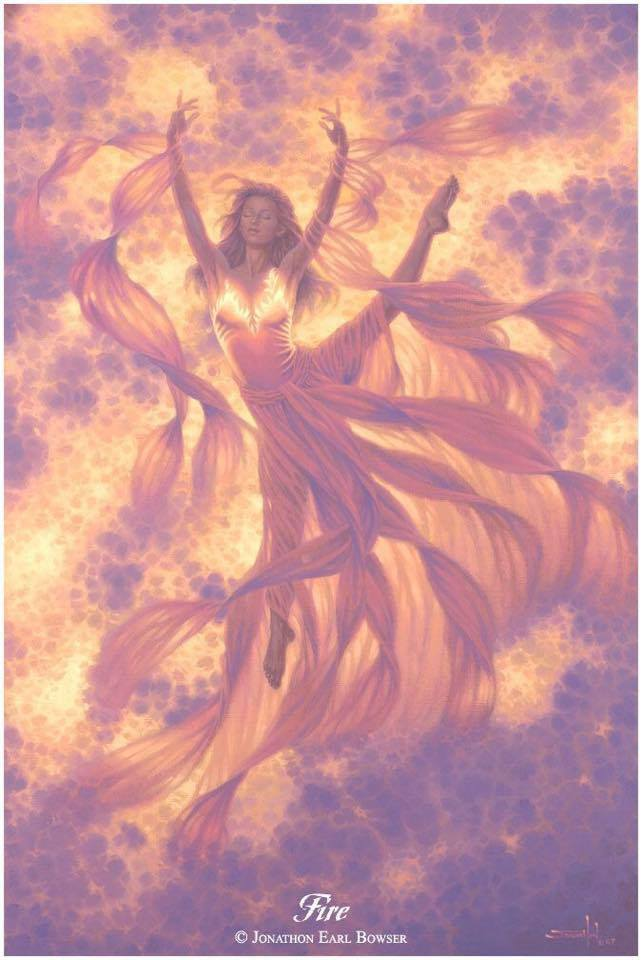 fire magic woman redhead image