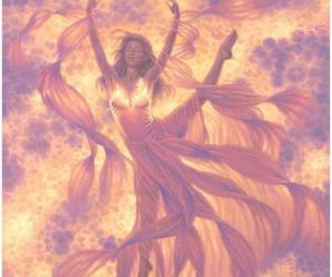 fire magic woman redhead image