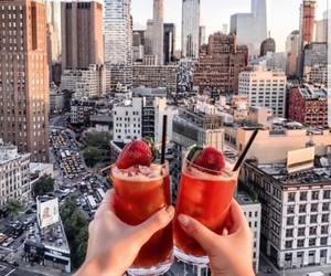 city, drinks, and hands image