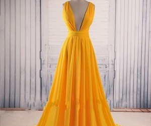 fashion, prom dress, and yellow dres image