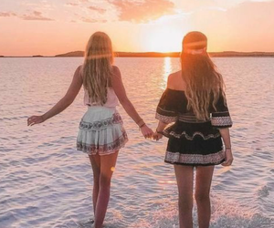 beach, friendship, and goals image