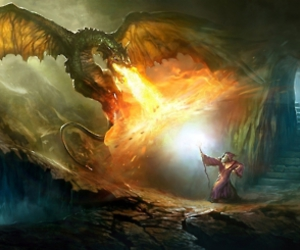 dragon, fire, and illustration image