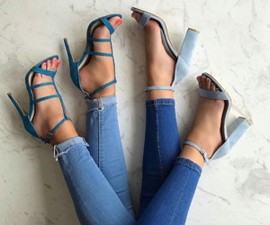 heels, high heels, and jeans image