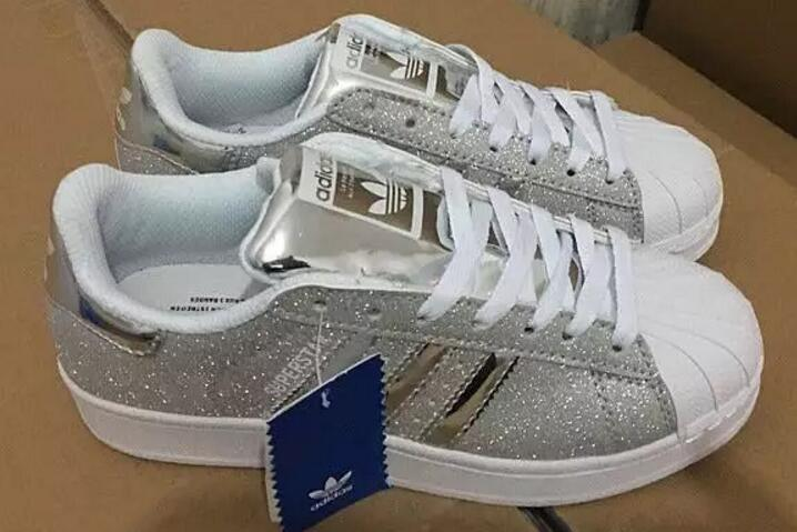 Adidas Superstar White Silver Glitter Shell Toe Womens Trainers