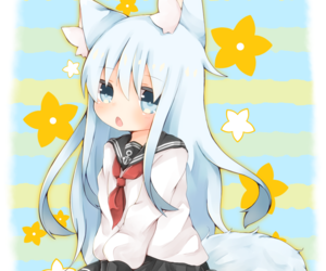 anime girl, cat, and dreamy image
