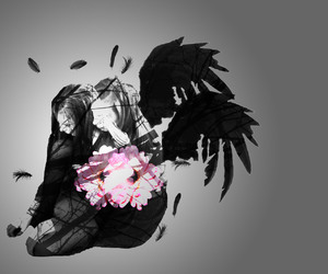 black, feathers, and grunge image