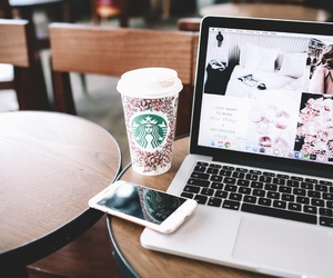 coffee, iphone, and macbook image