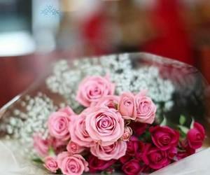girl, pink flower, and wedding image