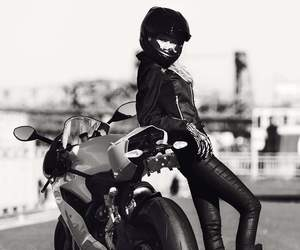 girl, black and white, and motorbike image