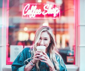 beauty, blonde, and coffee image