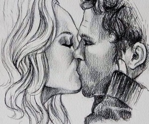 black n white, draw, and kiss image