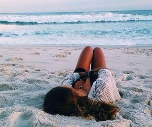 beach, girl, and summer image