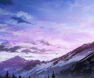 anime, mountains, and wallpaper image
