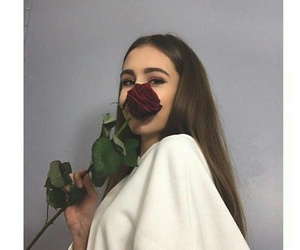 beatiful, girl, and rose image