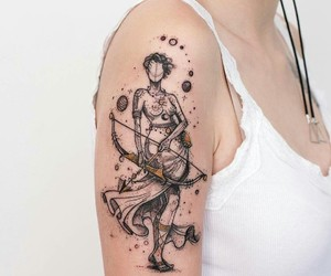 art, bow and arrow, and warrior image
