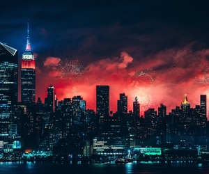 buildings, city, and fireworks image