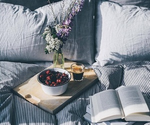 bedroom, books, and cherries image