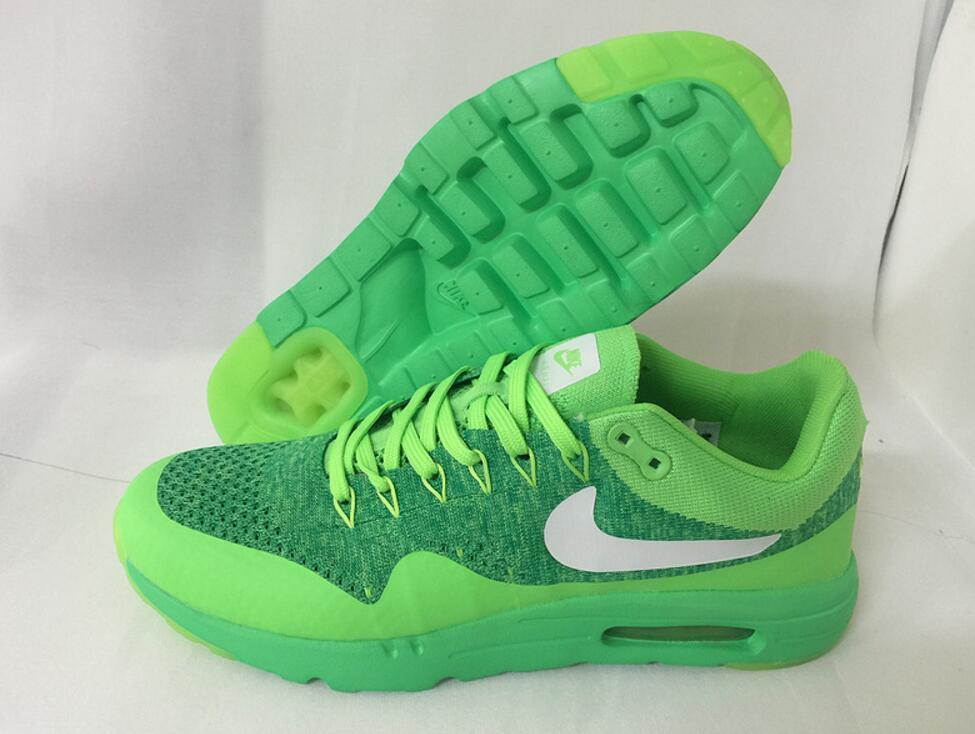 Womens Mens Nike Air Max 1 Ultra Moire Flyknit Green White