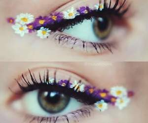 flowers, eyes, and makeup image