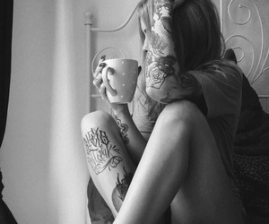 alone, coffee, and girl image