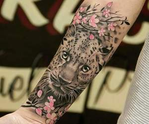 tattoo, flowers, and leopard image