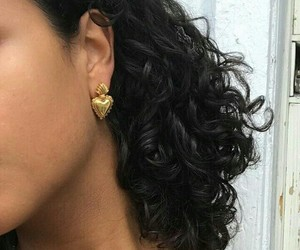 gold, hair, and earrings image