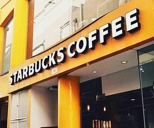 starbucks, coffee, and yellow image
