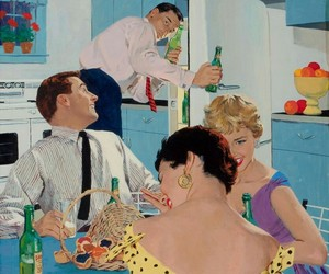 1950s, couples, and illustration image