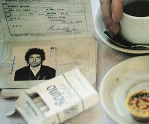 bob dylan, cigarette, and coffee image