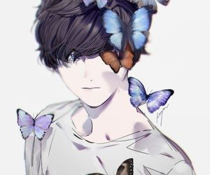 butterfly, anime, and boy image