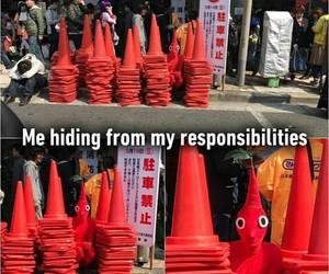 hiding, me, and meme image