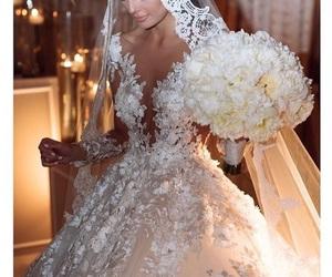 wedding, wedding dress, and white dress image