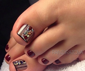 dark nails, diamonds, and nails image
