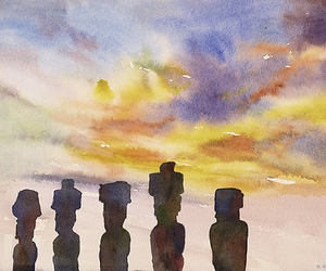 easter island, original painting, and watercolor landscape image