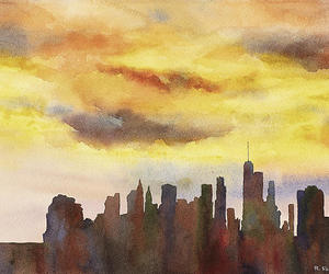 cityscape, watercolor painting, and sunset painting image