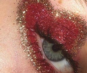red, glitter, and eye image