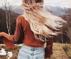 hair, blonde, and autumn image