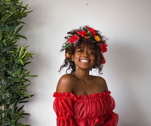 girl, red, and flowers image