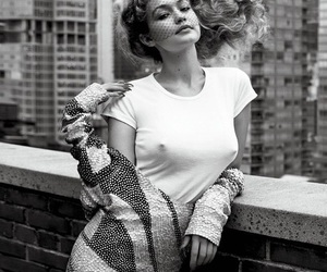 gigi hadid, black and white, and beauty image