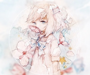 anime girl, drawing, and watercolor image