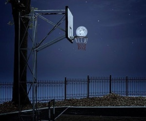 Basketball, moonlight, and night image