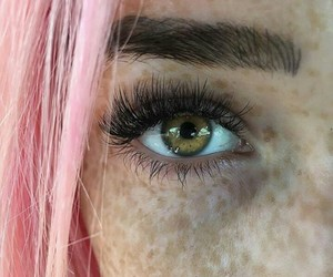 girl, pink, and eye image