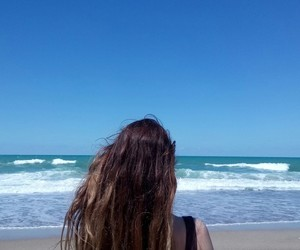 beach, brown, and girl image