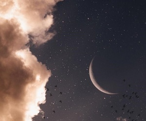 moon, grunge, and sky image