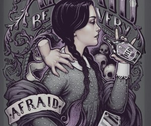 drawing, girl, and the addams family image